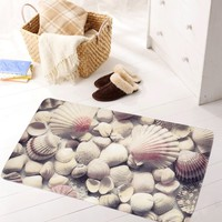 3D Pattern Large Bathroom Mat, Non Slip Mat Environmental Protection And Tasteless PVC Mat Shower Bath Mat With Suction Cup Multi-Color Seashell (Size: 69cm by 40cm, Color: Multicolor)