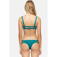 Chloe Double Strap Cut Out Bikini Bottom - Storm Green