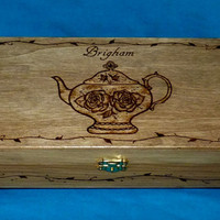 Decorative Wood Tea Box Wood Burned Tea Chest Wooden Tea Storage Unique Gift