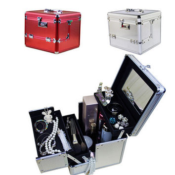 Hot Sale  new Professional Aluminium alloy Make up Box Makeup Case Beauty Case Cosmetic Bag Multi Tiers Lockable Jewelry Box
