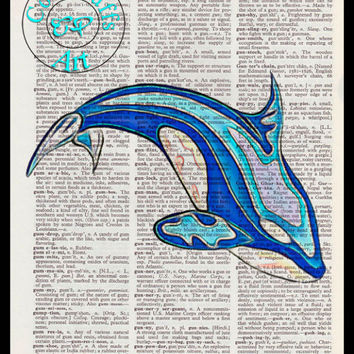 Shades of Blue Killer Whale Art Beautifully Upcycled Vintage Dictionary Page Book Art Print, Sea Life Print