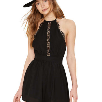Halter Neck Romper with Lace Insert