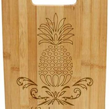 Laser Engraved Cutting Board - Welcome Pineapple