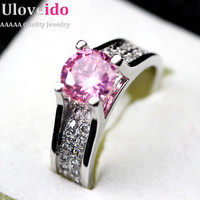 Uloveido Pink Blue Yellow CZ Diamond Pave Ring Zirconia Weddings Handmade Colored Zircon Jewelry Women Girls Anillo Azul Y006