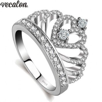 Vecalon Lovers Crown ring AAAAA Zircon Cz 925 Sterling Silver Filled Engagement wedding Band ring for women men