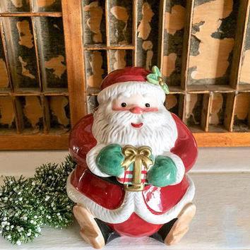Fitz and Floyd, Plaid Santa, Santa Cookie Jar, Santa Jar, Christmas Jar, Holiday Jar, Holiday Santa, Vintage Christmas, Christmas Gift