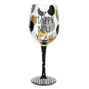 "Lolita Wine Glass ""Blinging In The New Year"""