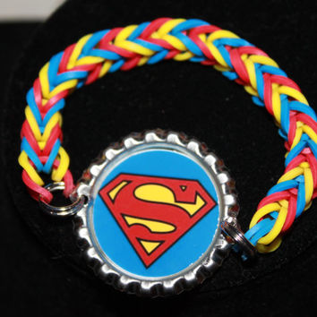 Superman Bottle Cap Rainbow Loom Bracelet ~ FREE SHIPPING
