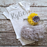 Baby Girl Take Home Outfit Newborn Baby Girl Personalized Onesuit Grey Bloomers Yellow & Grey Headband Set Custom Name Monogram Onesuit
