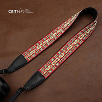 Cam-in-Red Pattern Strap Sony Nikon Canon Handmade Leather Camera Strap Christmas And Birthday Gifts Bohemia Style Holiday- CAM7437