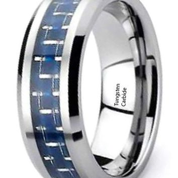 CERTIFIED 8mm Tungsten Carbon Fiber Cobalt Blue Inlay Ring