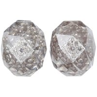 David Webb Rock Crystal Diamond Platinum Ear Clips and Ring