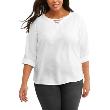Women's Plus Rolled Sleeve Tunic Blouse - Walmart.com