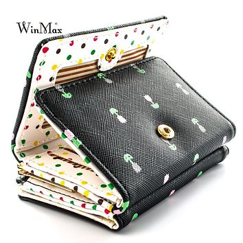 Winmax high quality Brand 3 fold floral Wallet women girls small Cion Purse Lovely PU Leather girls Wallet Female Coin Wallets