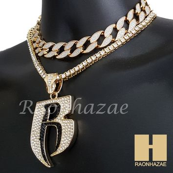 "Hip Hop Iced Out Gold Ruff Ryder Pendant 16"" Iced Out Choker 18"" Tennis Chain 4"