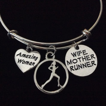 Amazing Woman Wife Mother Runner Expandable Silver Charm Bracelet Adjustable Wire Bangle Trendy