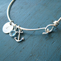 Anchor Initial Bangle Bracelet friendship bracelet Bridesmaid Jewelry Nautical Wedding best friends gift sorority gift