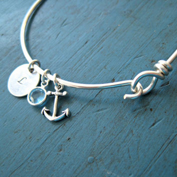 Alpha Sigma Tau sorority gift Initial Bangle Bracelet friendship bracelet Nautical Wedding best friends gift sorority gift