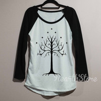White Tree of Gondor Shirt Baseball Raglan Shirt Tee Long Sleeve TShirt T Shirt Women - size S M L