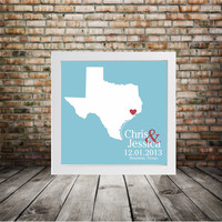 TEXAS Wedding Gift Custom State Map Personalized Couple Art - Personalized Texas Map- State Map Art Personalized Custom Wedding Map