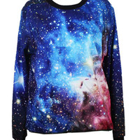 Blue Galaxy Printed Sweatshirt