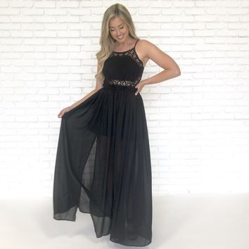Land Of Love Crochet Maxi in Black