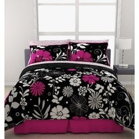 Pink Black White Girls Flowered Twin Comforter Sheet Bed In A Bag Set by Morgan Teen