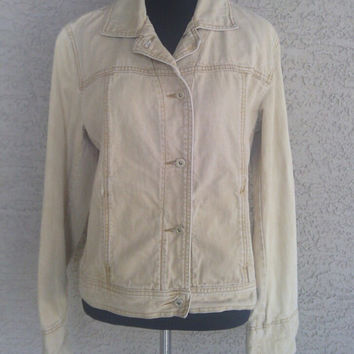 DKNY Donna Karan designer brown jean jacket size 8 - cotton - golden yellow to brown - gold buttons
