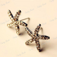 HOT Fashion Sweet Full Crystal Rhinestone Starfish Ear Studs Earrings NEW FJ58