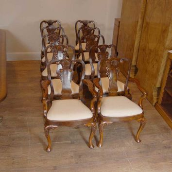 Canonbury - 10 English Queen Anne Walnut Dining Chairs Ann Chair