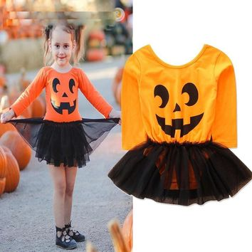Halloween Baby Costume Girls Rompers Dresses Newborn Pumpkin Orange Jumpsuits Dress Infant Cartoon Printed Children Party Outfit