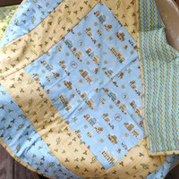 Cowboy Baby Quilt  - Pieced and Quilted Crib Quilt with Cotton Backer - Blue, Yellow and Green