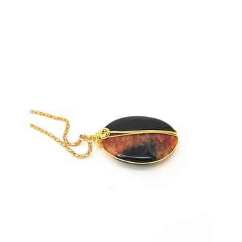 Orange and Black Agate Necklace, Black and Orange Necklace, Black Agate Necklace, Orange Agate necklace, Black Agate Jewelry