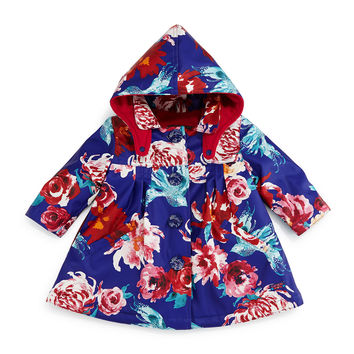 Fleece-Lined Floral Raincoat, Blue, Size 3T-6,