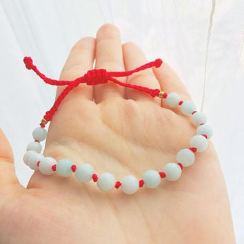 Jade Knotted Bracelet - Best Friend Gift - Best Friend Bracelet - Gift for Her - Beaded Bracelet - Jade Bracelet - Red Bracelet