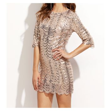 Gold Scallop 3/4 Sleeves Bodycon Sequin Dress