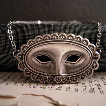 Masquerade Ball Mask Necklace Silver by Saout on Etsy
