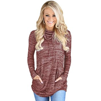 Chicloth Heather Red Cozy Cowl Neck Drawstring Sweatshirt