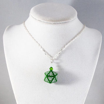 Elvish Green D20 Dice Necklace - Tabletop Gaming Jewelry with Crystal Accents