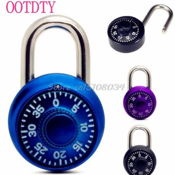 Steel Shackle Dial Combination Luggage Suitcase Bag Code Locker Lock Padlock #S018Y# High Quality