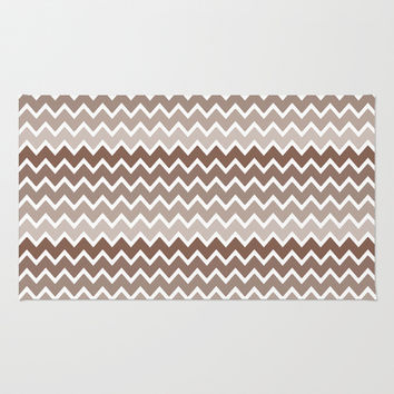 Brown Ombre Chevron Area & Throw Rug by decampstudios