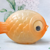 Soviet Big Fish Toy / Cute Orange Goggly Eyed Collectible Plastic Fish, Bath Toy / Russian Vintage Kitch Marine Toddler Toy, 8'' Across