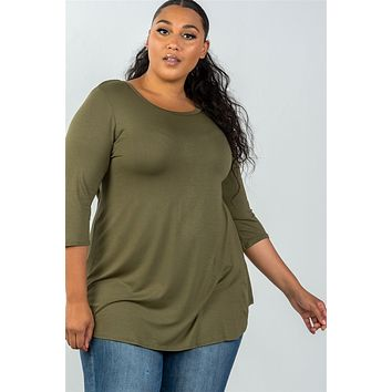 Ladies fashion plus size 3/4 sleeve olive solid scoop neck top