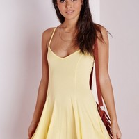 Missguided - Strappy Skater Dress Yellow