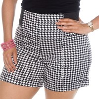 Houndstooth and Nail Plus Size Elastic Tab High Waist Shorts - Black and White