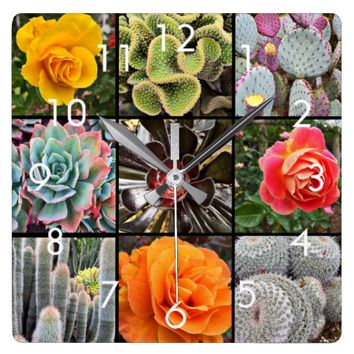 Colorful, big cacti & roses photo grid wall clock
