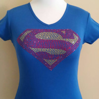 Superman Rhinestone T-shirt / Costume T-Shirt