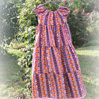 Young Girl's Maxi Dress, MADE TO ORDER, Modest Dress, Girl's fashion, Peasant dress, pink, burgundy, and orange
