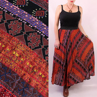 Vintage 90s - Red Ethnic Tribal Ikat Print - Billowy Draped High Waist Maxi Skirt