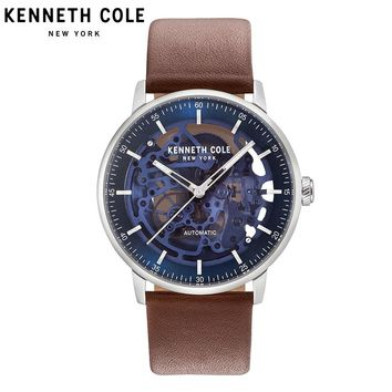 Kenneth Cole Original Mens Watches Brown Automatic Mechanical Leather Buckle Waterproof Luxury Brand Watches KC15104003